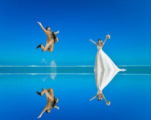 ウユニ塩湖風の反射ショット