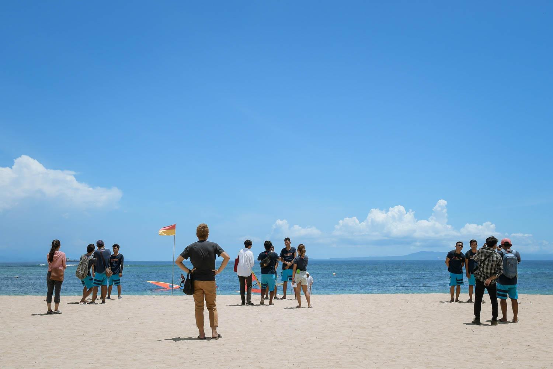 ビーチで撮影講習