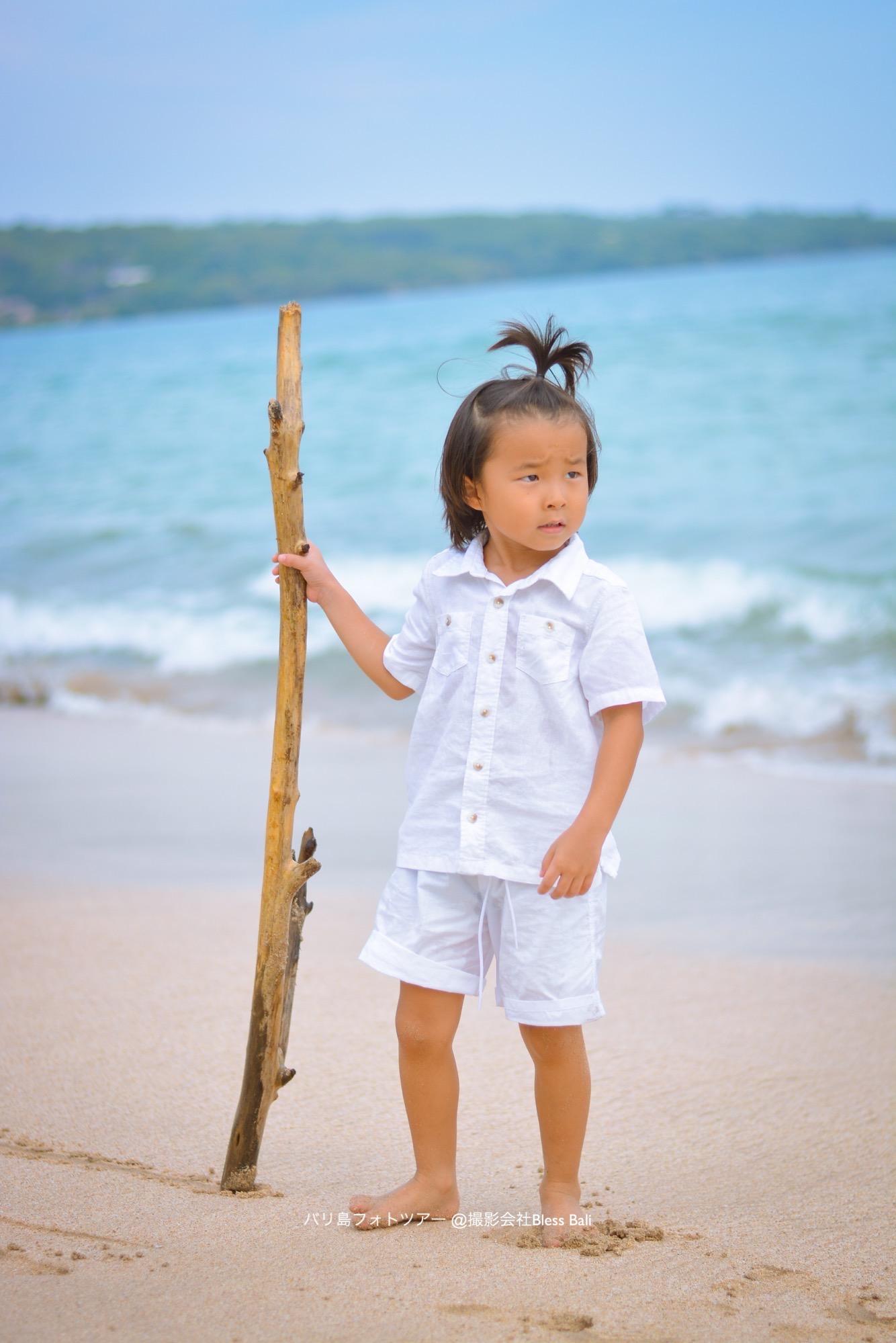 バリ島家族でビーチフォト