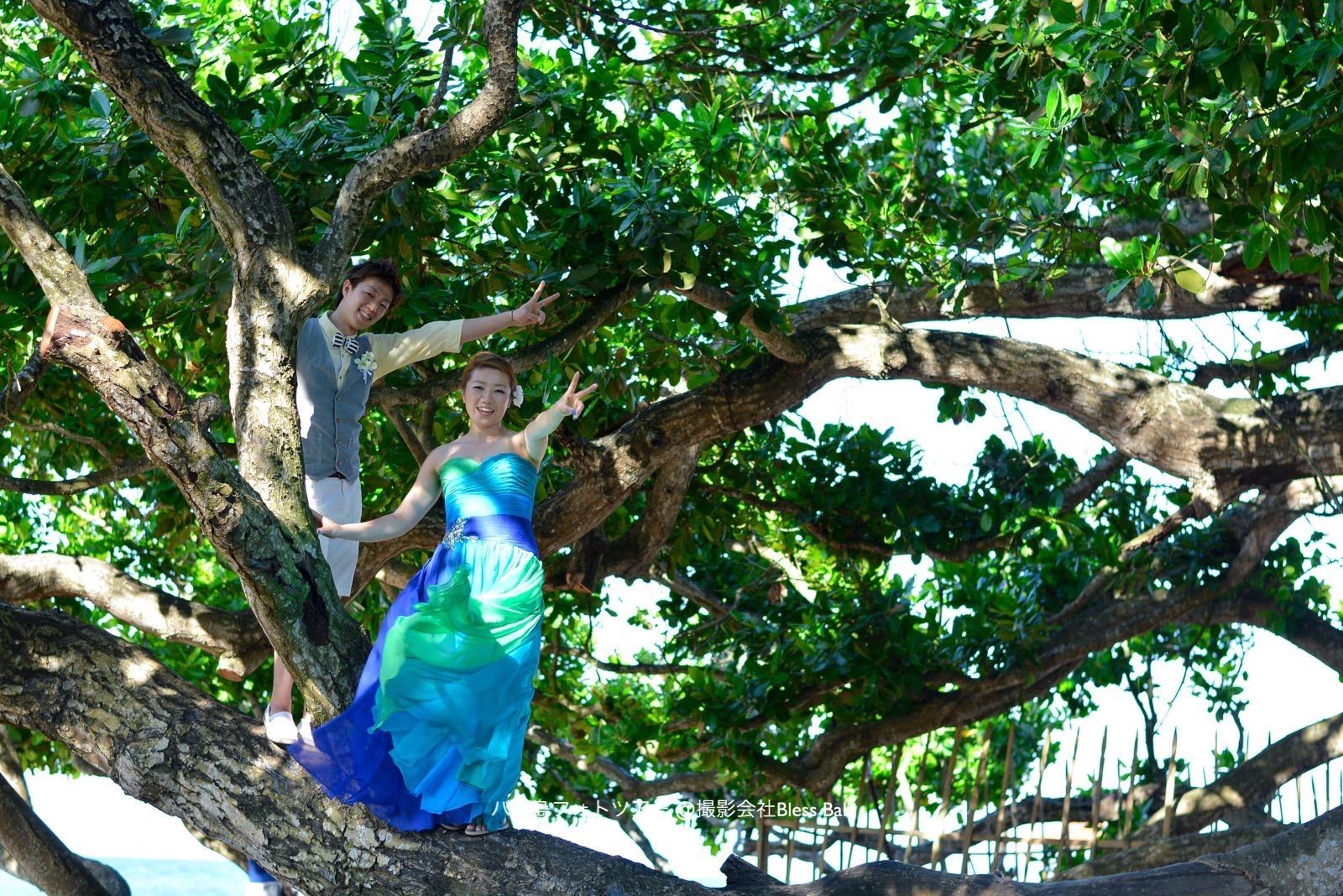 木の幹の上に登って、ナチュラル感溢れる一枚