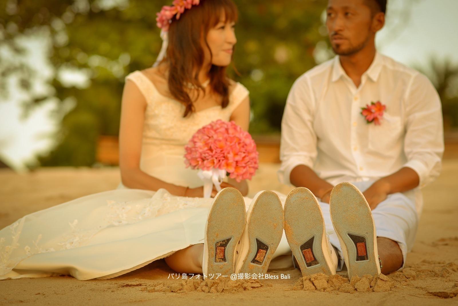バリ島サンセットフォト お揃いの靴
