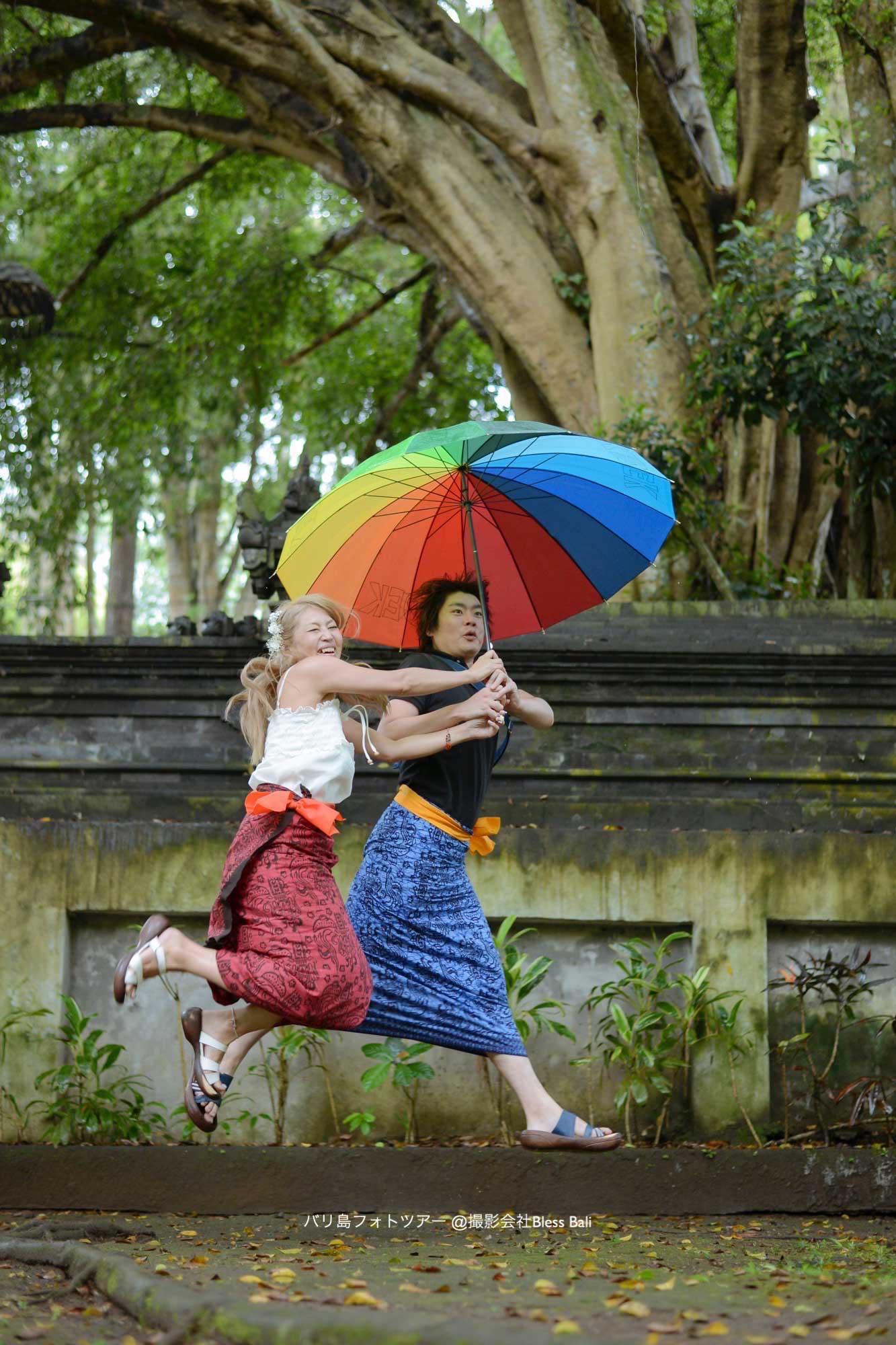カラフルなレインボー傘
