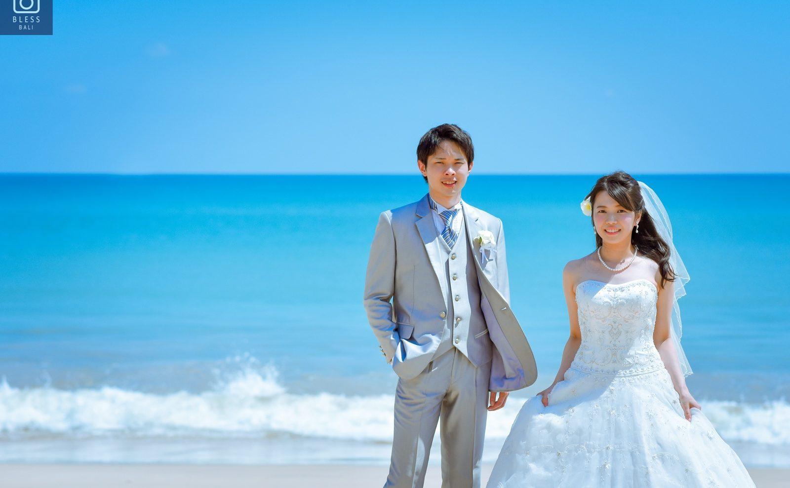 【お客様レポ#214】SAORI撮影!快晴のジンバランビーチでフォトウェディング C&T様