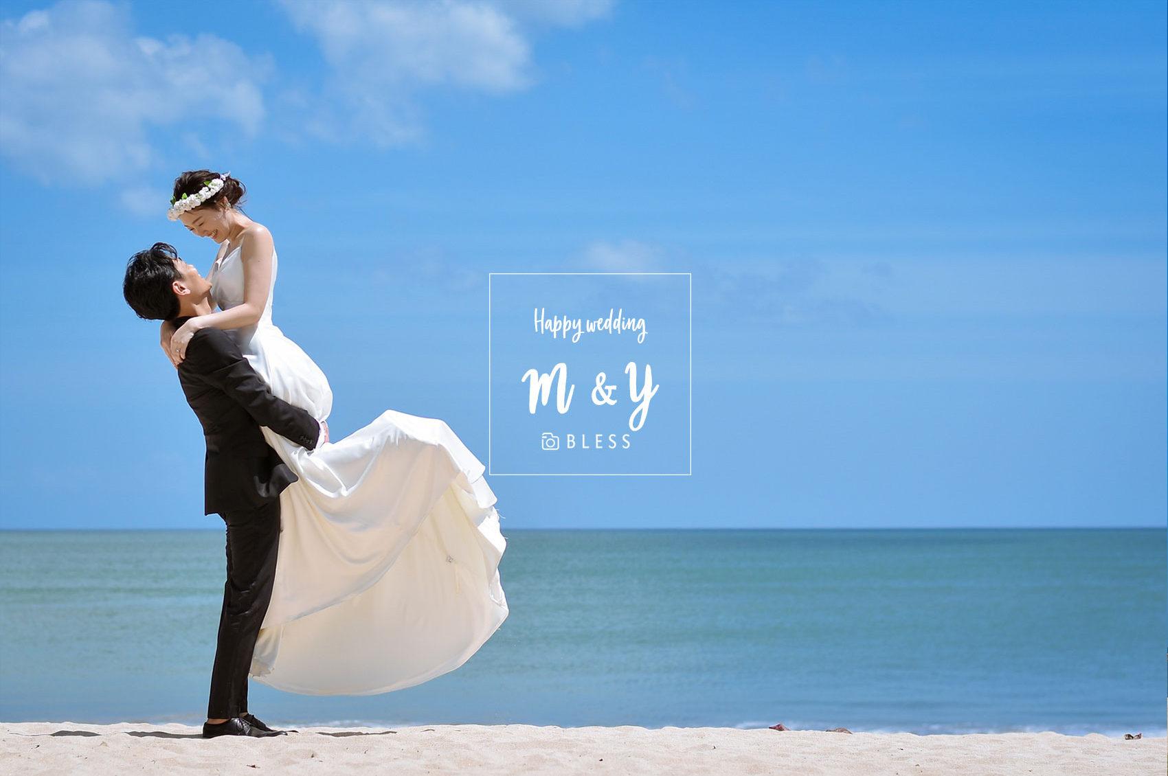 【お客様レポ#241】日本人ヘアメイク&ドレスご利用♡ M&Y様の青空ビーチフォト